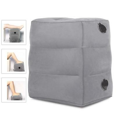 Inflatable Travel Foot Rest Pillow Adjustable Portable Fabric Flight Air Cushion