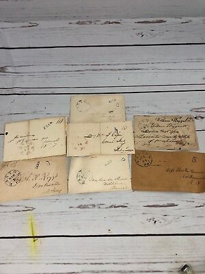 Antique Early Letter Envelopes Early 19th Century Postal History Lot Of 7