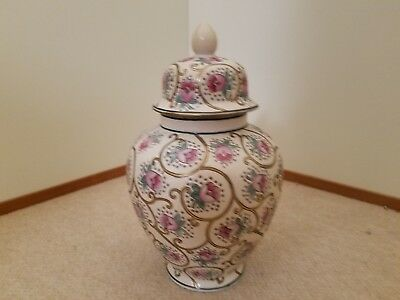 Oriental Jar with Lid. Floral and Gold Stem Pattern.