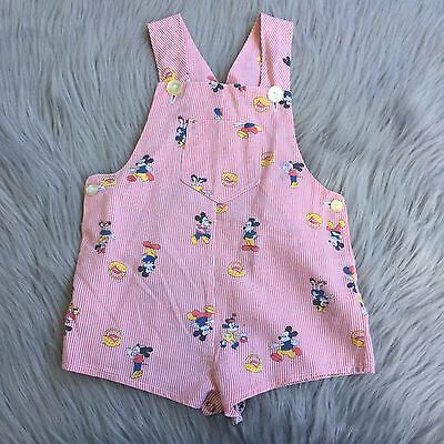 Vintage Handmade Disney Red Stripe Mickey Minnie Mouse Romper Overalls Toddler