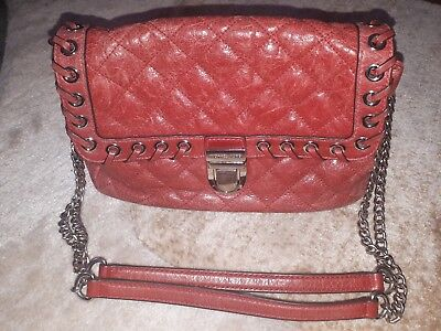 Michael Kors Distressed Leather Quilted Chain Pale Red Shoulder Handbag