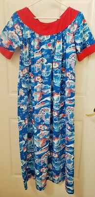 HAWAIIAN MuuMuu 50-60s LURLINE Pattern KILOHANA Women's XS Made in HAWAII Dress