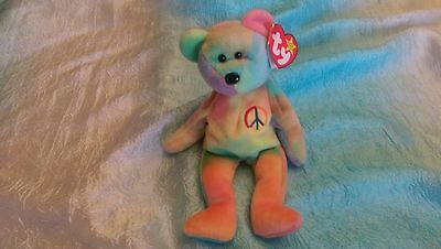 """Ty Beanie Babies Baby """"Peace"""" Rare Retired 1996."""