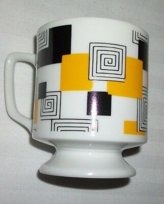 Pedestal Pop Art Coffee Cup 60's Footed Black Yellow Squares Maze Mid Century