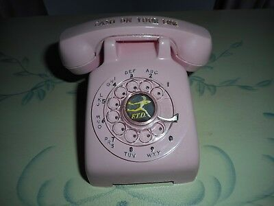 Vintage Advertising Rotary Dial Pink Telephone F.T.D. Cash on your Line