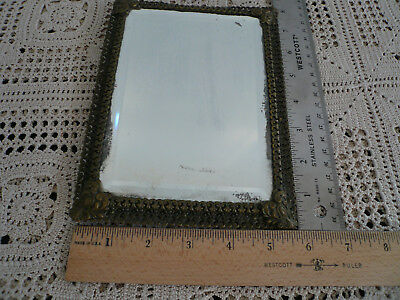 Small Victorian Brass Tabletop Mirror with Easel Stand
