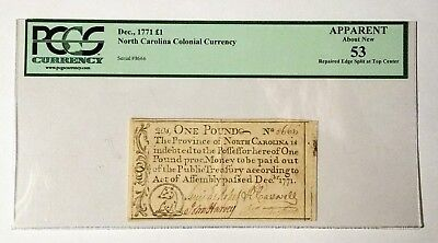 1771 Province of North Carolina One Pound Note - PGCS Apparent About New 53