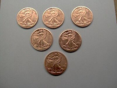Lot of Six(6) Copper Bullion 1 Ounce Walking Liberty Rounds, Brand New!