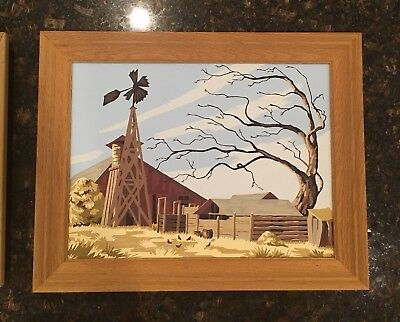 Vintage Hand Painted Paint By Nimber Windmill County Scene
