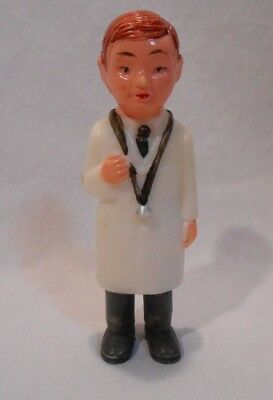 Vintage Medical Family Doctor Plastic Dollhouse Toy Painted Figure Hong Kong
