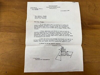 WWII Confirm Death Notice Army Soldier KIA Letter 1944 War Department Palau