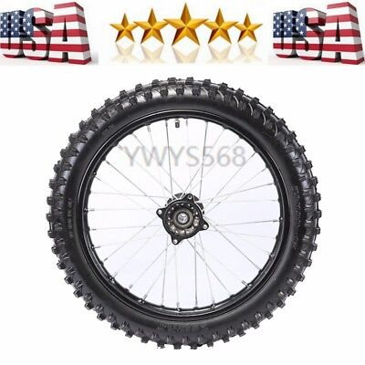 Front 1.6*17 Knobby 15mm Axle Wheel Rim Tire Tyre fit CRF70/50 Dirt Pit Bike US