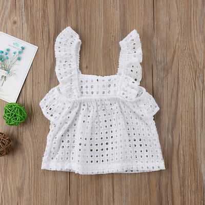 Kids Baby Girl White Top Hollow Out T-shirt Summer Ruffle Fly Sleeve Tank Tops