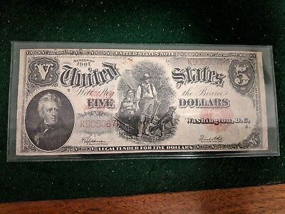 1907 Five Dollar Large Note Currency $5 Bill Red Seal Wood Chopper