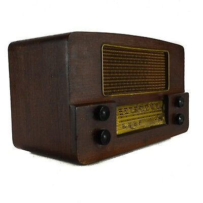 1949 Emerson 565 Wood Table AM FM Tube Radio Large Brown Gold Vintage