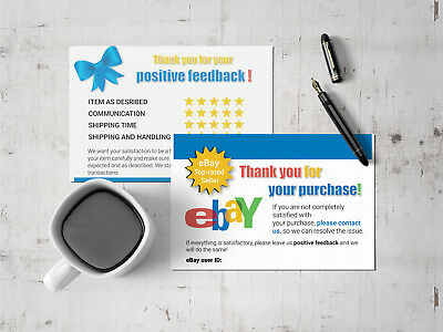 200 Ebay Thank You Cards Seller Feedback Ebay Business Cards 5 Star Review