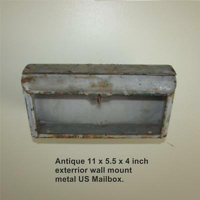 Antique U.S. Mailbox, Metal, Exterior Wall Mount, Glass Front, Letter Slot
