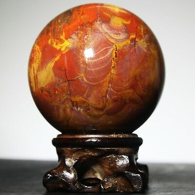 """A2302- 2.4"""" 362g NATURAL PETRIFIED WOOD FOSSIL SPHERE BALL w/RoseWood Stand"""