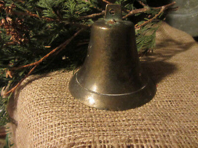 Early Antique Primitive Brass Bell...hangar...incised Line...lovely Shape