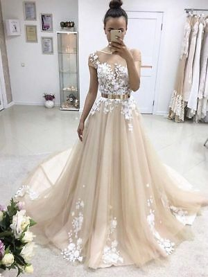 Champagne Cap Sleeve Tulle Long Prom Dress Floral Applique