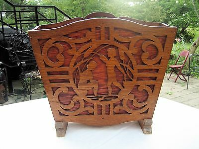 Wood Folk Art Art Deco Style Magazine Rack Cut Out Fretwork Water Nymph Accents