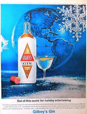 Vtg 1963 Gilbey's London Gin world globe snowflake advertisement print ad art