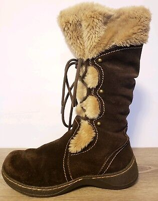 Womens 7.5 BearTraps Brown Suede Leather Fur Tall Winter Boots Insulated Shoes
