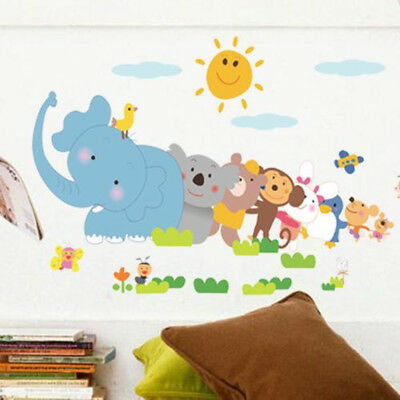 Elephant Monkey Tree Animal Wall Decals Removable Wall Stickers Kids Nursery New