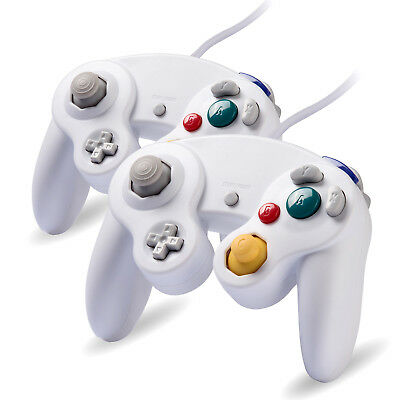 2 x White Wired Controller for Nintendo GameCube GC & Wii Console CLASSIC JOYPAD
