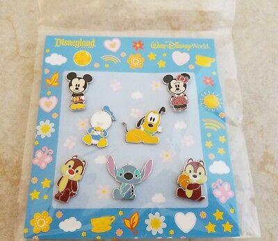 Pin Trading Disney Pins Lot of 7 Cute Characters Mickey Minnie Pluto Stitch Chip
