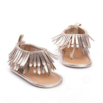 Baby Infant Kids Girl Boys Soft Sole Crib Toddler Newborn Tassels Sandals Shoes