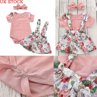 UK Stock 3Pcs Newborn Baby Girls Tops Romper Floral Skirt Outfits Set Clothes