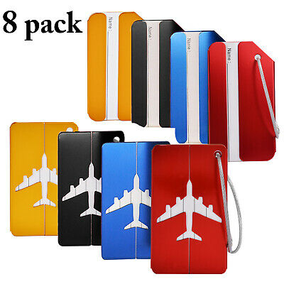 8pcs Luggage Tags Suitcase Label Name Address ID Bag Baggage Travel Tag