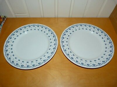 "2 Collectable Barratt's Of Stafford Blue Floral White 10"" {26cms} Dinner Plates"