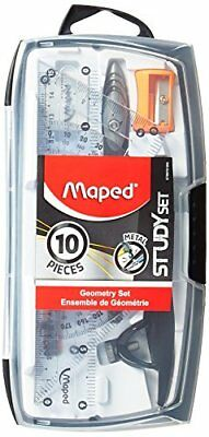 Maped Geometry Set, 10 piece set includes: 2 Metal Study Compasses, Eraser, P...