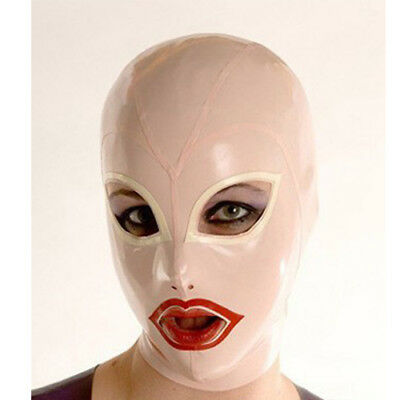 Sexy Latex Unisex Hood Mask with Trim Cosplay Party Wear Rubber Mask