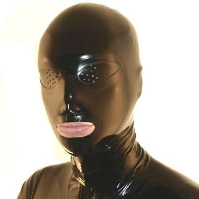 Sexy Black Latex Mask Rubber Hood Gummi 0.4mm for Party Wear Catsuit Unique