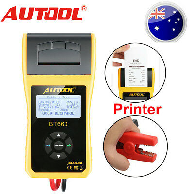 AUTOOL BT660 Car Cranking Battery Tester Lead Acid Analyzer CCA 12V with Printer