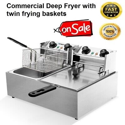 Commercial Deep Fryer Twin Basket Double Electric Cooker Fry Stainless Steel NEW