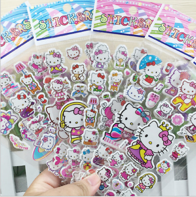 10 sheets Bubble Stickers Hello Kitty Pink Pig 3D Cartoon Classic Kids Toy Gift
