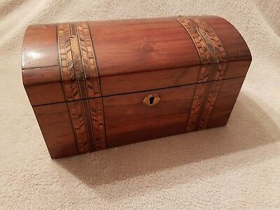 Antique Wood Inlaid Tea Caddy Box Late 1800S