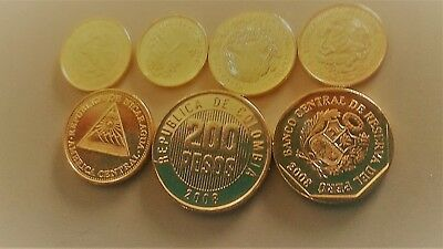 7 Central American Coins Gold finish Mexico Colombia Peru Guatemala Nicaragua