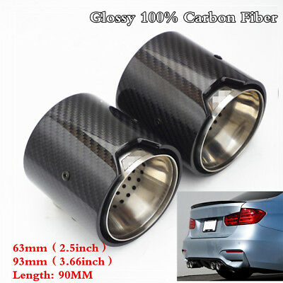 4Pc Glossy Carbon Fiber Exhaust Pipe Trim Tip For BMW M Performance exhaust pipe
