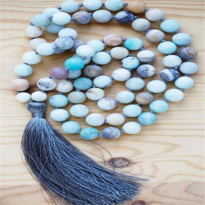 8mm Amazonite 108 Beads Tassels knot Necklace energy Wristband classic Cheaply