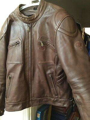 Mens Bks Brown Leather Vintage Style Motorcycle Touring Jacket Size 44