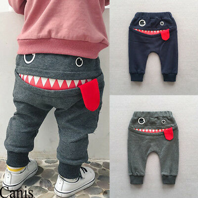 Infant Kid Baby Boy Big Mouth Monster Print Pants Bottom Trousers Cotton Clothes