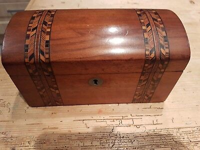 Beautiful Antique Victorian Domed Wooden Tea Caddy Marquetry Design