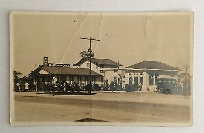 Old Vintage Postcard - Gulf Service Station & Flamingo Grill, Florida