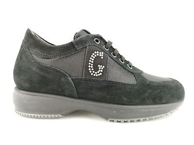 I18-Grd6 Scarpe Donna 39 Sneakers Guerrucci 100% Pelle Nero Made In Italy € 213109bbb33