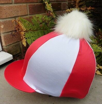 Lycra Riding Hat Silk skull cap cover RED & WHITE Extra Large Faux Fur Pompom